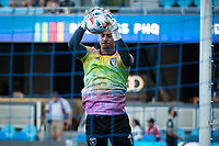 SAN JOSE, CA - AUGUST 17: JT Marcinkowski #1 of the San Jose Earthquakes warming up during a game between San Jose Earthquakes and Minnesota United FC at PayPal Park on August 17, 2021 in San Jose, California.
