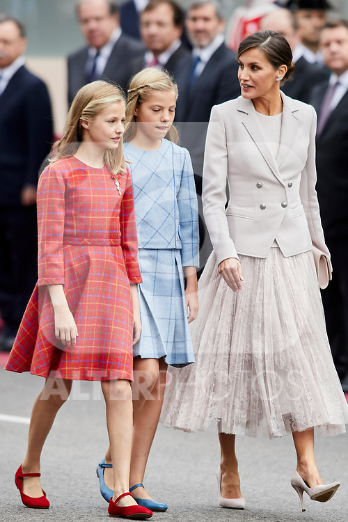 Queen Letizia of Spain, Princess Leonor of Spain and Princess Sofia of Spain attends to Spanish National Day military parade in Madrid, Spain. October 12, 2018. (ALTERPHOTOS/A. Perez Meca)