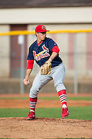 Johnson City Cardinals starting pitcher Ryan Helsley (36) in action against the Bristol Pirates at Boyce Cox Field on July 7, 2015 in Bristol, Virginia.  The Cardinals defeated the Pirates 4-1 in game one of a double-header. (Brian Westerholt/Four Seam Images)