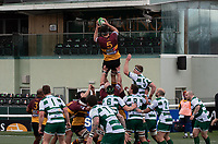 Llewelyn Jones of Ampthill RUFC wins the line out during the Greene King IPA Championship match between Ealing Trailfinders and Ampthill RUFC being played behind closed doors due to the COVID-19 pandemic restrictions at Castle Bar , West Ealing , England  on 13 March 2021. Photo by Alan Stanford / PRiME Media Images