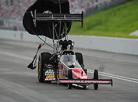 Jun. 18, 2011; Bristol, TN, USA: NHRA top fuel dragster driver David Grubnic during qualifying for the Thunder Valley Nationals at Bristol Dragway. Mandatory Credit: Mark J. Rebilas-