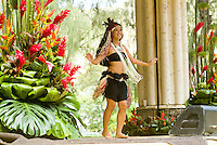 A dancer performs at Kapiolani park bandstand on May day, also known in Hawaii as lei day