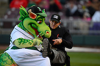 Dayton Dragons mascot polishes the shoes of umpire Evan Barger a game against the Bowling Green Hot Rods on April 20, 2013 at Fifth Third Field in Dayton, Ohio.  Dayton defeated Bowling Green 6-3.  (Mike Janes/Four Seam Images)