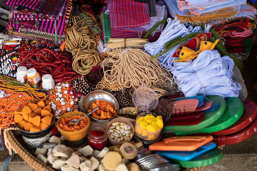 India - Manipur - Imphal - A stall selling religious items used to worship the gods.