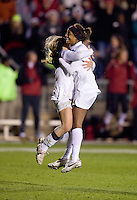 Camille Levin (2) of Stanford celebrates her goal with teammate Linsay Taylor (17) during the second game of the NCAA Women's College Cup at WakeMed Soccer Park in Cary, NC.  Stanford defeated Boston College, 2-0.