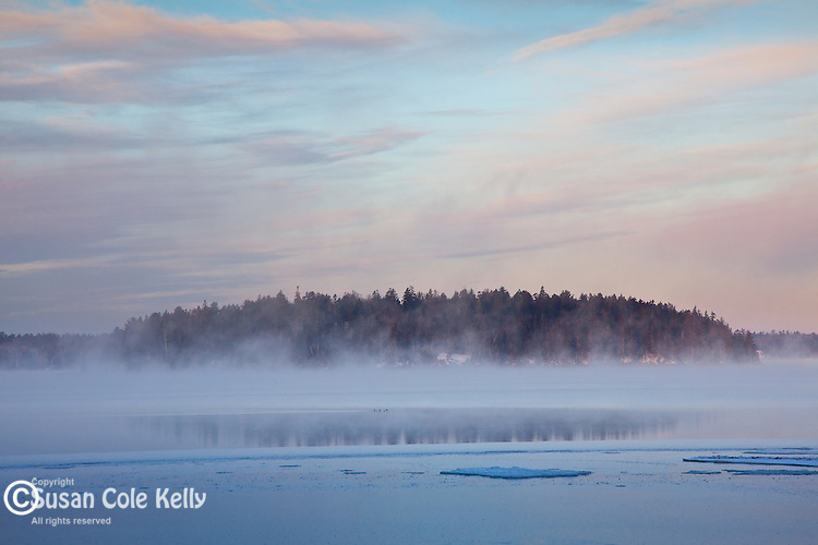 "On a frigid January morning, ""sea smoke"" - temperature-related fog - rises from a bay in Hancock County, ME, USA"