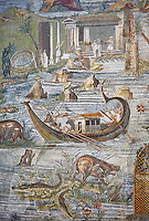 Detail picture of a boat on the Nile  from the famous Hellenistic Roman Palestrina Nilotic landscape Mosaic or Nile mosaic of Palestrina 1st or 2nd century BC. Museo Archeologico Nazionale di Palestrina Prenestino  (Palestrina Archaeological Museum), Palestrina, Italy.