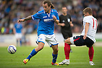 St Johnstone v FC Minsk...08.08.13 Europa League Qualifier<br /> Stevie May and Aliaksandr Sachyuka<br /> Picture by Graeme Hart.<br /> Copyright Perthshire Picture Agency<br /> Tel: 01738 623350  Mobile: 07990 594431