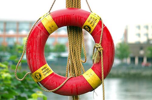 A life ring bearing the logo of Irish Water Safety