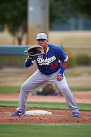 Los Angeles Dodgers Eric Meza (36) during an instructional league game against the Cincinnati Reds on October 20, 2015 at Cameblack Ranch in Glendale, Arizona.  (Mike Janes/Four Seam Images)