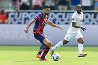 KANSAS CITY, KS - JULY 18: Sebastian Lletget #17 of United States moves with the ball during a game between Canada and USMNT at Children's Mercy Park on July 18, 2021 in Kansas City, Kansas.