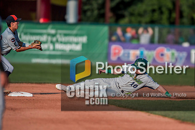 20 August 2017: Vermont Lake Monsters outfielder Greg Deichmann, a 2nd round draft pick for the Oakland Athletics, slides into second during game action against the Connecticut Tigers at Centennial Field in Burlington, Vermont. The Lake Monsters rallied to edge out the Tigers 6-5 in 13 innings of NY Penn League action.  Mandatory Credit: Ed Wolfstein Photo *** RAW (NEF) Image File Available ***