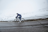 Alexander Krieger (DEU/Alpecin-Fenix) coming over the Passo Giau<br /> <br /> due to the bad weather conditions the stage was shortened (on the raceday) to 153km and the Passo Giau became this years Cima Coppi (highest point of the Giro).<br /> <br /> 104th Giro d'Italia 2021 (2.UWT)<br /> Stage 16 from Sacile to Cortina d'Ampezzo (shortened from 212km to 153km)<br /> <br /> ©kramon