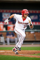 Harrisburg Senators catcher Spencer Kieboom (20) runs to first base during a game against the New Hampshire Fisher Cats on June 2, 2016 at FNB Field in Harrisburg, Pennsylvania.  New Hampshire defeated Harrisburg 2-1.  (Mike Janes/Four Seam Images)