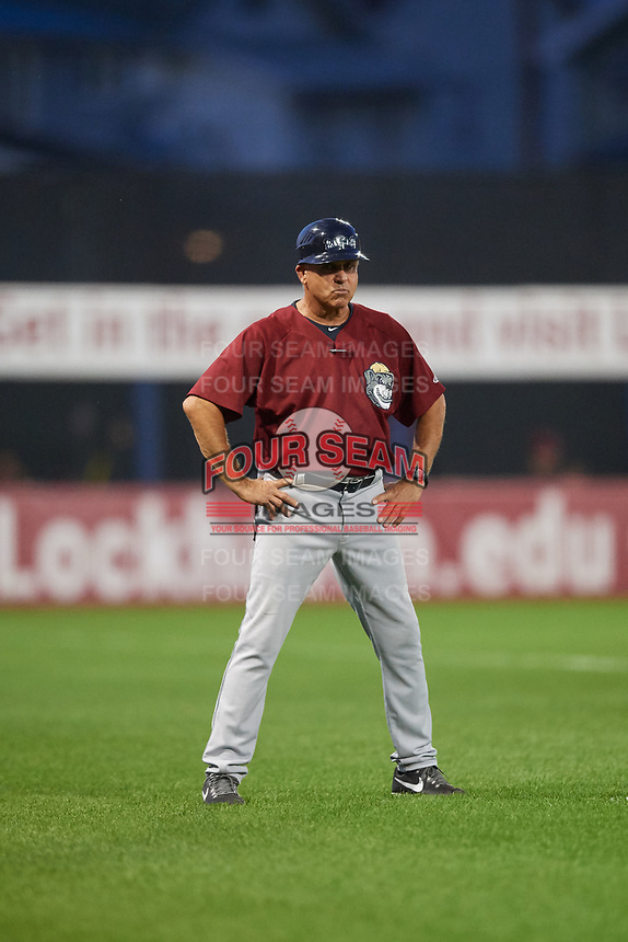Mahoning Valley Scrappers manager Jim Pankovits (24) during a game against the Williamsport Crosscutters on August 28, 2018 at BB&T Ballpark in Williamsport, Pennsylvania.  Williamsport defeated Mahoning Valley 8-0.  (Mike Janes/Four Seam Images)