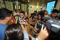 Wednesday 18 September 2013<br /> Pictured: Pablo Hernandez is mobbed by journalists upon his arrival to Valencia Airport.<br /> Re: Swansea City FC players and staff travelling to Spain for their UEFA Europa League game against Valencia.