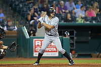 Ryan Peurifoy (3) of the West Virginia Power at bat against the Greensboro Grasshoppers at First National Bank Field on August 9, 2018 in Greensboro, North Carolina. The Power defeated the Grasshoppers 9-7 in game two of a double-header. (Brian Westerholt/Four Seam Images)