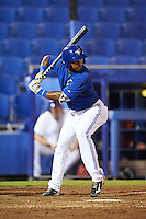 GCL Blue Jays second baseman Miguel Almonte (3) at bat during the second game of a doubleheader against the GCL Phillies on August 15, 2016 at Florida Auto Exchange Stadium in Dunedin, Florida.  GCL Phillies defeated the GCL Blue Jays 4-0.  (Mike Janes/Four Seam Images)