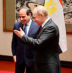 A handout picture provided by the Egyptian Presidency on April 26, 2019 shows Egyptian President Abdel Fattah al-Sisi meeting with Russian President Vladimir Putin at the Belt and Road Forum in Beijing, China. Photo by Egyptian President Office