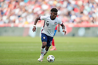 SANDY, UT - JUNE 10: Yunus Musah #18 of the United States looks for an open man during a game between Costa Rica and USMNT at Rio Tinto Stadium on June 10, 2021 in Sandy, Utah.