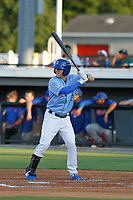 Burlington Royals outfielder Eric Cole (2) at bat during a game against the Kingsport Mets at Burlington Athletic Complex on July 28, 2018 in Burlington, North Carolina. Burlington defeated Kingsport 4-3. (Robert Gurganus/Four Seam Images)