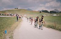 a late group on the gravel section after the top of the Montée du plateau des Glières (HC/1390m)<br /> <br /> Stage 10: Annecy > Le Grand-Bornand (159km)<br /> <br /> 105th Tour de France 2018<br /> ©kramon