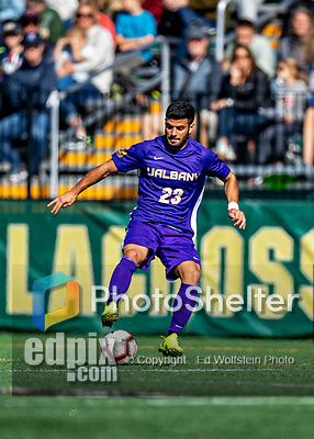 5 October 2019: University at Albany Great Dane Midfielder Konstantinos Louvaris, a Senior from Nicosia, Cyprus, in action against the University of Vermont Catamounts at Virtue Field in Burlington, Vermont. The Catamounts fell to the visiting Danes 3-1 in America East, Division 1 play. Mandatory Credit: Ed Wolfstein Photo *** RAW (NEF) Image File Available ***