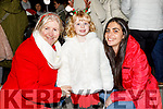 Marion Keogh, Mila Rose and Devina Williamson at the turning on of the Christmas Tree lights on Saturday