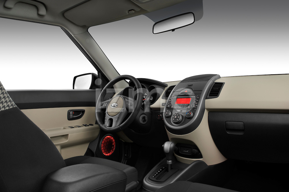 Low angle passenger side dashboard view of a 2010 Kia Soul!.