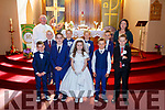 Pupils from Scoil Bhréanainn, Portmagee who made their First Holy Communion on Saturday in St Patricks Church were front l-r; Conor O'Sullivan, Daithi Stenson, Laura Conway, Tadhg Nugent, Darragh O'Sullivan, back l-r; Kyle Courtney, Thomas Murphy, Matthew Murphy, Ollie O'Sullivan with Fr Patsy Lynch & Rosaleen Mullarkey.