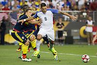 Action photo during the match United States vs Colombia, Corresponding Group -A- America Cup Centenary 2016, at Levis Stadium<br /> <br /> Foto de accion durante el partido Estados Unidos vs Colombia, Correspondiante al Grupo -A-  de la Copa America Centenario USA 2016 en el Estadio Levis, en la foto: /i-d) Cristian Zapata de Colombia y Clint Dempsey de USA<br /> <br /> <br /> 03/06/2016/MEXSPORT/Victor Posadas.
