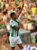 MEDELLIN-COLOMBIA, 29-02-2020: Jefferson Duque de Atletico Nacional, celebra el gol anotado a Deportivo Independiente Medellin, durante partido de la fecha 7 entre Atletico Nacional y Deportivo Independiente Medellin, por la Liga BetPLay DIMAYOR I 2020, jugado en el estadio Atanasio Girardot de la ciudad de Medellin. / Jefferson Duque of Atletico Nacional celebrates the scored goal to Deportivo Independiente Medellin, during a match of the 7th date between Atletico Nacional and Deportivo Independiente Medellin, for the BetPLay DIMAYOR I Leguage 2020 played at the Atanasio Girardot Stadium in Medellin city. / Photo: VizzorImage / Leon Monsalve / Cont.
