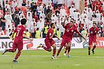 Hamid Ismaeil Khaleefa of Qatar (L2) celebrating his score with his teammates during the AFC Asian Cup UAE 2019 Semi Finals match between Qatar (QAT) and United Arab Emirates (UAE) at Mohammed Bin Zaied Stadium  on 29 January 2019 in Abu Dhabi, United Arab Emirates. Photo by Marcio Rodrigo Machado / Power Sport Images