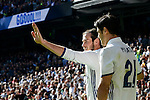 Real Madrid's players Gareth Bale and Alvaro Morata celebrating a goal during a match of La Liga at Santiago Bernabeu Stadium in Madrid. November 06, Spain. 2016. (ALTERPHOTOS/BorjaB.Hojas)