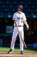 Eric Cheray (14) of the Missouri State Bears shows his frustration after a called strike during a game against the Southern Illinois University- Edwardsville Cougars at Hammons Field on March 9, 2012 in Springfield, Missouri. (David Welker / Four Seam Images)