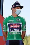 Green Jersey Jasper Philipsen (BEL) Alpecin-Fenix at sign on before Stage 3 of La Vuelta d'Espana 2021, running 202.8km from Santo Domingo de Silos to Picon Blanco, Spain. 16th August 2021.    <br /> Picture: Luis Angel Gomez/Photogomezsport | Cyclefile<br /> <br /> All photos usage must carry mandatory copyright credit (© Cyclefile | Luis Angel Gomez/Photogomezsport)