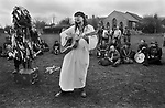 Avebury Wiltshire, Druid wedding blessings get together.  1996. Bardic singer and songwriter Steve Andrews.
