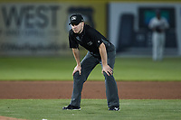 Third base umpire Steven Jaschinski works the game between the Altoona Curve and the Somerset Patriots at TD Bank Ballpark on July 24, 2021, in Somerset NJ. (Brian Westerholt/Four Seam Images)