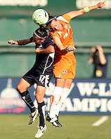 Lisa De Vanna #17 of Washington Freedom loses a header to Keeley Dowling #17 of Sky Blue FC during a WPS match at RFK Stadium on May 23, 2009 in Washington D.C.