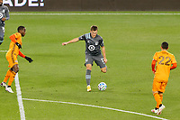 ST PAUL, MN - OCTOBER 18: Robin Lod #17 of Minnesota United FC pass the ball during a game between Houston Dynamo and Minnesota United FC at Allianz Field on October 18, 2020 in St Paul, Minnesota.