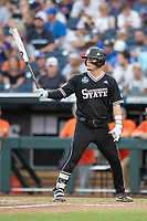 Mississippi State Bulldogs first baseman Tanner Allen (5) at bat during Game 4 of the NCAA College World Series against the Auburn Tigers on June 16, 2019 at TD Ameritrade Park in Omaha, Nebraska. Mississippi State defeated Auburn 5-4. (Andrew Woolley/Four Seam Images)