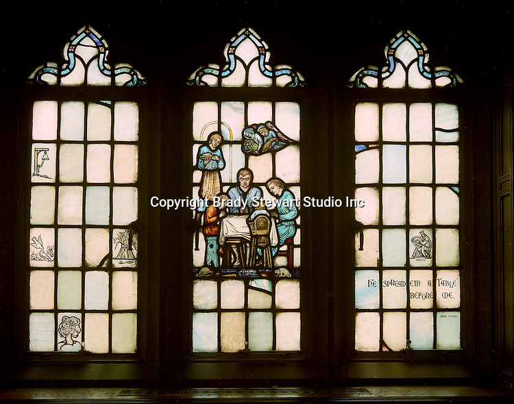 """East Liberty section of Pittsburgh PA:  View of a stained glass window in the Church's Session Room. This image is included in the book; """"The Art and Architecture of the East Liberty Presbyterian Church"""".  This window was created in the studios of Henry Lee Willett of Philadelphia.  The theme of the various windows deals with religion at home."""