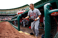 Mike Trout (23) of the Arkansas Travelers heads out to play defense during a game against the Springfield Cardinals on May 10, 2011 at Hammons Field in Springfield, Missouri.  Photo By David Welker/Four Seam Images.
