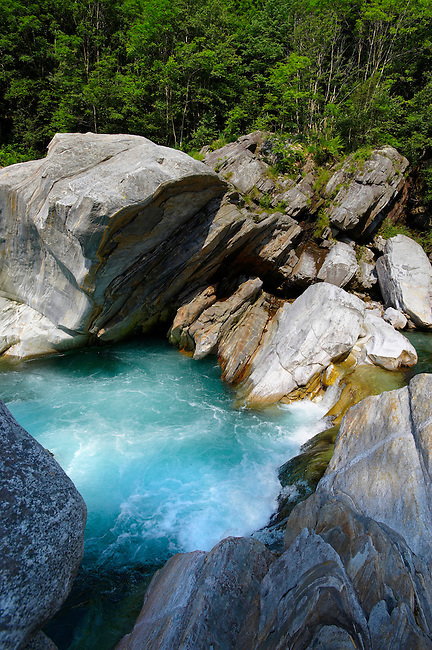 rocky alpine foothills stream in the remote valley of Val Verzasca, near lavertezzo , Ticino