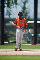 GCL Astros Franklin Pinto (21) at bat during a Gulf Coast League game against the GCL Nationals on August 9, 2019 at FITTEAM Ballpark of the Palm Beaches training complex in Palm Beach, Florida.  GCL Nationals defeated the GCL Astros 8-2.  (Mike Janes/Four Seam Images)