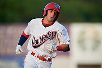 Auburn Doubledays shortstop Brandon Boggetto (3) rounds the bases after hitting a home run in the bottom of the second inning during a game against the Connecticut Tigers on August 10, 2017 at Falcon Park in Auburn, New York.  Connecticut defeated Auburn 4-1.  (Mike Janes/Four Seam Images)