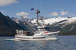 Salmon seiner, Alaska, Prince William Sound, Whittier, USA, Passage Canal,