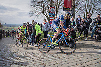 Guillaume van Keirsbulck (BEL/Wanty-Groupe Gobert) on top of the Paterberg<br /> <br /> 72nd Dwars Door Vlaanderen (1.UWT)<br /> 1day race: Roeselare › Waregem BEL (203.4km)