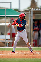 GCL Cardinals Franklin Soto (5) at bat during a Gulf Coast League game against the GCL Marlins on August 12, 2019 at the Roger Dean Chevrolet Stadium Complex in Jupiter, Florida.  GCL Marlins defeated the GCL Cardinals 9-2.  (Mike Janes/Four Seam Images)