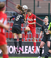 Amber Maximus (9) of Anderlecht pictured fighting for the ball with Maurane Marinucci (7) of Standard  during a female soccer game between Standard Femina de Liege and RSC Anderlecht on the 8th matchday in play off 1 of the 2020 - 2021 season of Belgian Scooore Womens Super League , tuesday 18 th of May 2021  in Angleur , Belgium . PHOTO SPORTPIX.BE | SPP | DAVID CATRY